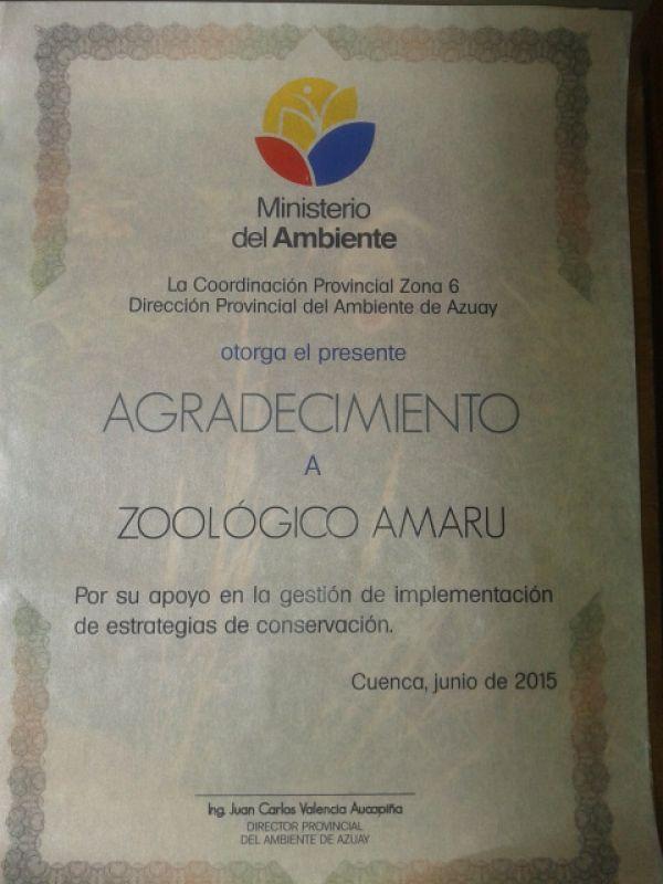 Zoo-Bioparque-Amaru-Cuenca-RECONOCIMIENTO POR DIA MUNDIAL DEL AMBIENTE